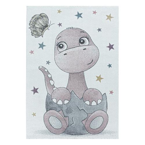 FUNNY Impression Dino Laagpolig Baby Kinderkamer Vloerkleed Roze / Wit
