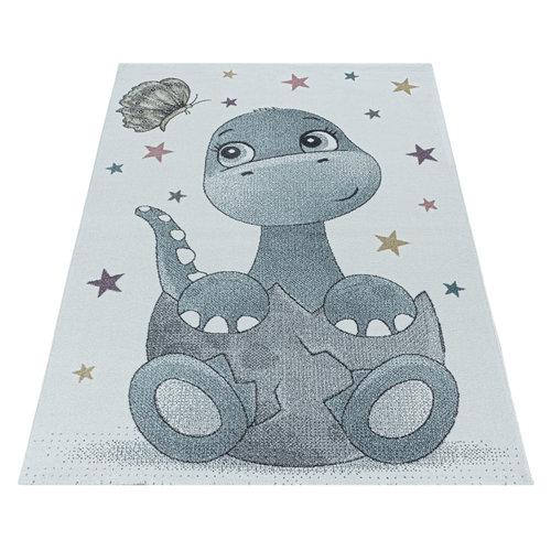 FUNNY Impression Dino Laagpolig Baby Kinderkamer Vloerkleed Blauw / Wit
