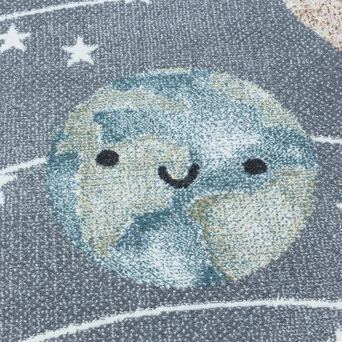 FUNNY Impression Universe Laagpolig Baby Kinderkamer Vloerkleed Grijs