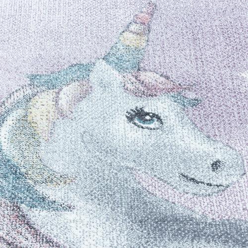 FUNNY Impression Unicorn Eenhoorn Laagpolig Baby Kinderkamer Vloerkleed Paars