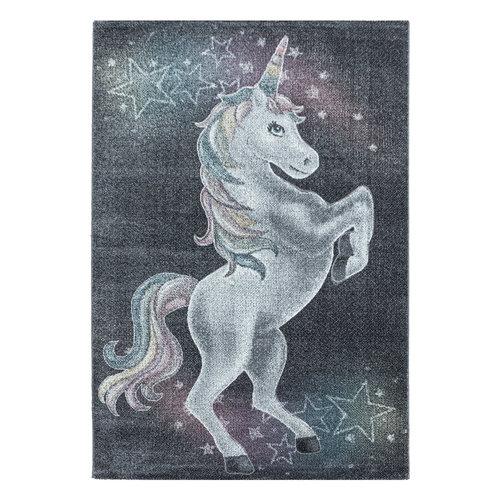 FUNNY Impression Unicorn Eenhoorn Laagpolig Baby Kinderkamer Vloerkleed Grijs
