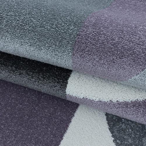 EFOR Impression Medusa Modern Laagpolig Vloerkleed Paars / Grijs