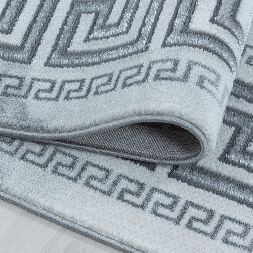 NAXOS Impression Kader Design Laagpolig Vloerkleed Grijs Zilver