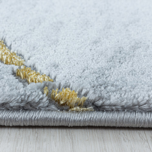 NAXOS Impression Marmer Design Laagpolig Vloerkleed Grijs Goud