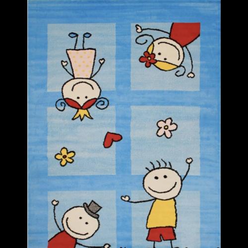 Bambino Bambino Friends Kinderkamer Vloerkleed Blauw Laagpolig