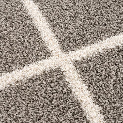 Madrid Impression Madrid Shaggy Rond Design Vloerkleed Grijs Hoogpolig