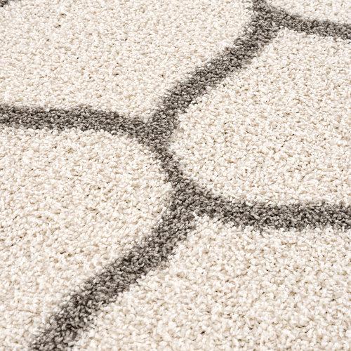 Madrid Impression Madrid Shaggy Rond Design Vloerkleed Creme Hoogpolig