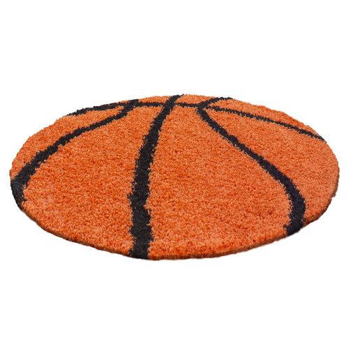 FUN Fun Basketbal Kinderkamer Rond Vloerkleed Hoogpolig Oranje