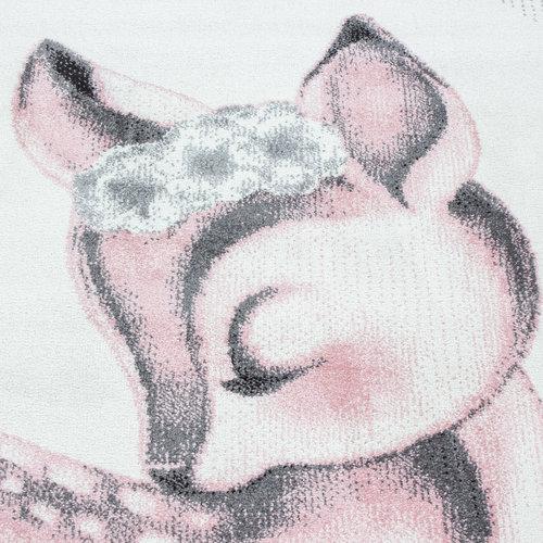 BAMBI Bambi Kinderkamer Vloerkleed Laagpolig Roze Grijs
