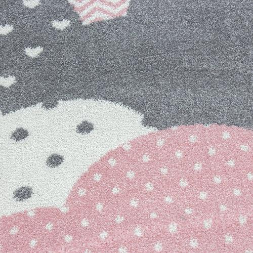 BAMBI Bambi Wolken Kinderkamer Vloerkleed Laagpolig Roze Grijs