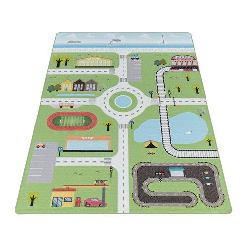 PLAY Kinderkamer Vloerkleed Verkeer Laagpolig Groen