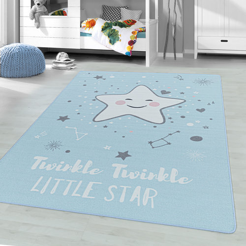PLAY Kinderkamer Vloerkleed Little Star Laagpolig Blauw