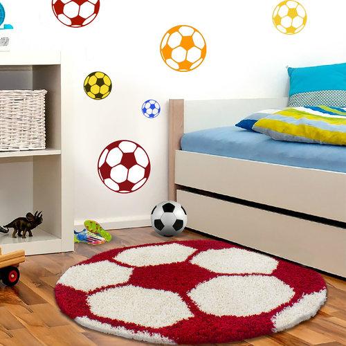 FUN Fun Voetbal Kinderkamer Rond Vloerkleed Hoogpolig Rood Wit