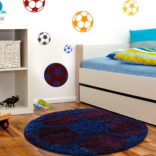 FUN Fun Voetbal Kinderkamer Rond Vloerkleed Hoogpolig Blauw Paars