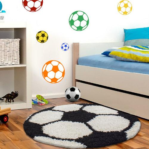 FUN Fun Voetbal Kinderkamer Rond Vloerkleed Hoogpolig Zwart Wit