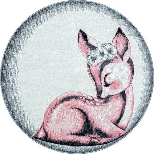 BAMBI Bambi Kinderkamer Rond Vloerkleed Laagpolig Roze Grijs