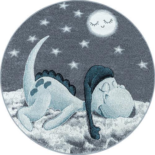BAMBI Bambi Dino Kinderkamer Rond Vloerkleed Laagpolig Blauw Grijs