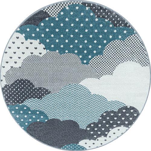 BAMBI Bambi Wolken Kinderkamer Rond Vloerkleed Laagpolig Blauw Grijs