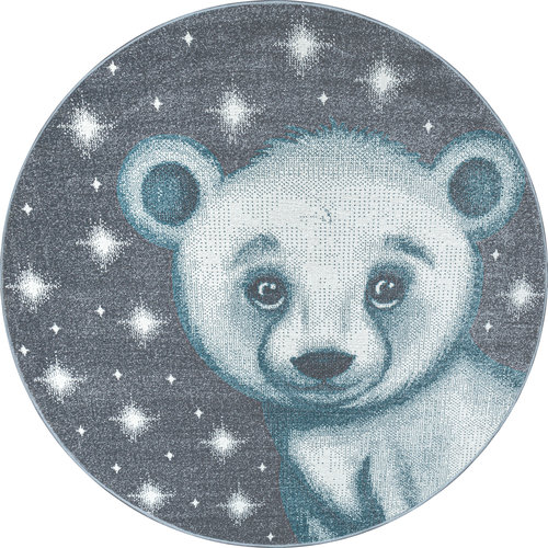 BAMBI Bambi Beer Kinderkamer Rond Vloerkleed Laagpolig Blauw Grijs