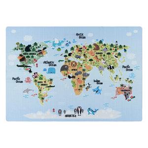 PLAY Kinderkamer Vloerkleed Wereldmap Laagpolig Blauw