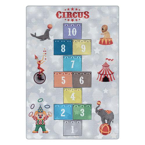 PLAY Kinderkamer Vloerkleed Circus Hinkelen Laagpolig Grijs