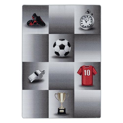 PLAY Kinderkamer Vloerkleed Soccer Star Laagpolig Grijs