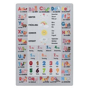 PLAY Kinderkamer Vloerkleed Alfabet Leren Laagpolig Grijs