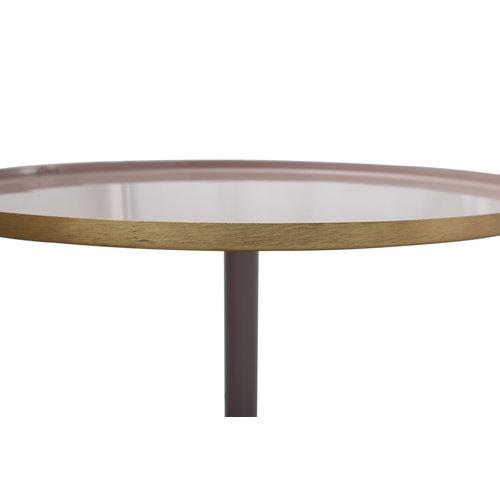 Art Deco Bijzettafel Rond Art Deco 925 Oud Roze / Grijs Metaal