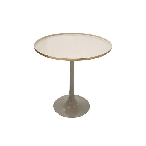Art Deco Bijzettafel Rond Art Deco 925 Ivoor / Taupe Metaal