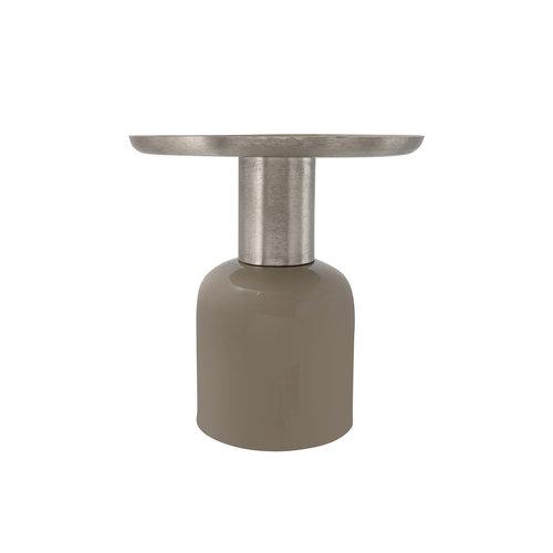 Art Deco Bijzettafel Rond Art Deco 825 Taupe / Zilver Metaal