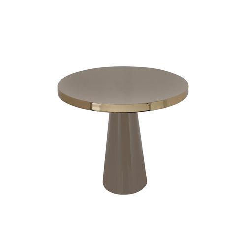 Art Deco Bijzettafel Rond Art Deco 625 Taupe / Goud Metaal