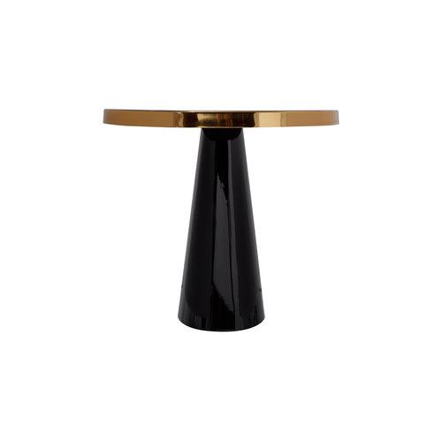 Art Deco Bijzettafel Rond Art Deco 625 Zwart / Goud Metaal