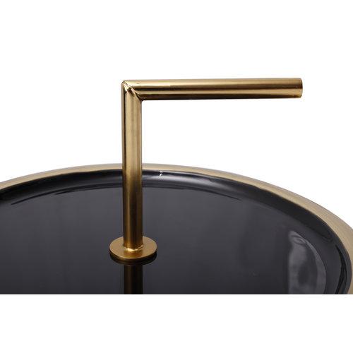 Art Deco Bijzettafel Rond Art Deco 555 Zwart Metaal