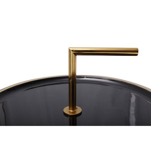 Art Deco Bijzettafel Rond Art Deco 545 Zwart Metaal