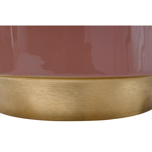 Art Deco Bijzettafel Rond Art Deco 275 Roze Metaal