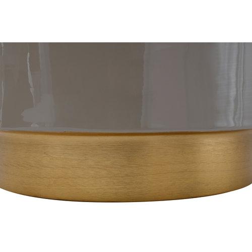 Art Deco Bijzettafel Rond Art Deco 275 Grijs Goud Metaal