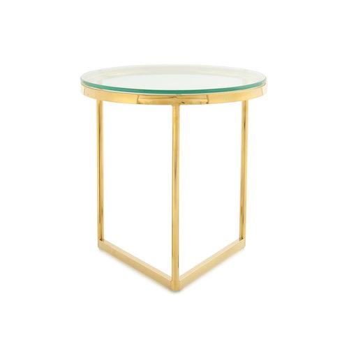 Impression Sidetables Bijzettafel Rond Wynona 225 Goud Glas RVS