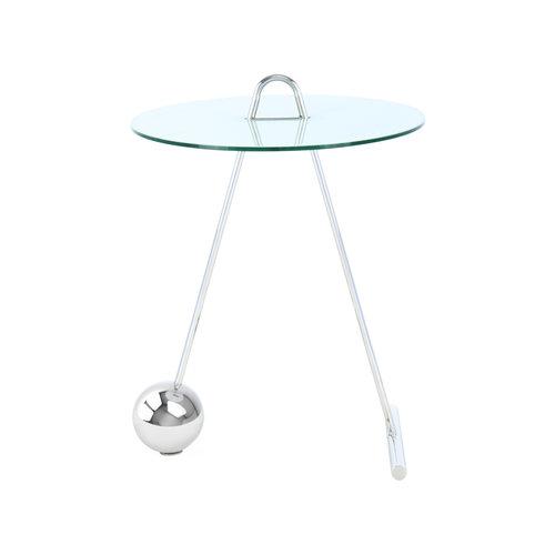 Impression Sidetables Bijzettafel Rond Pendulum 525 Zilver / Wit Staal Glas