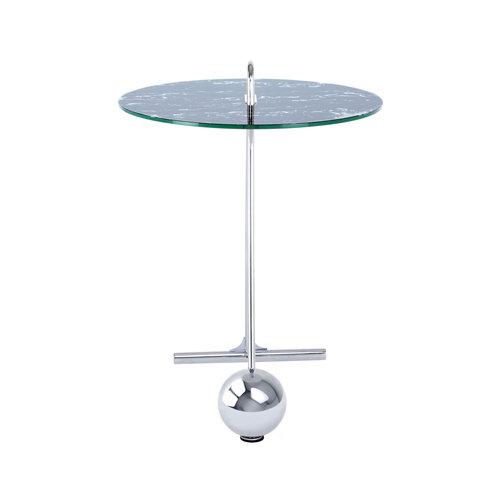Impression Sidetables Bijzettafel Rond Pendulum 525 Zilver / Zwart Staal Glas