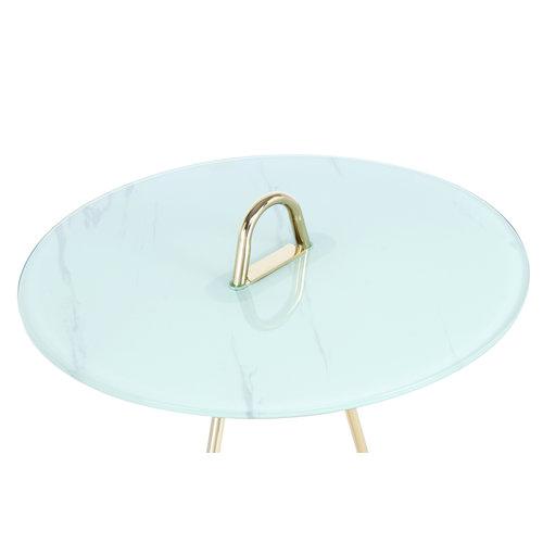 Impression Sidetables Bijzettafel Rond Pendulum 525 Goud / Wit Staal Glas