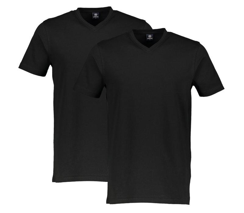 Lerros 2-Pack T-Shirts Serafino V-Neck Zwart