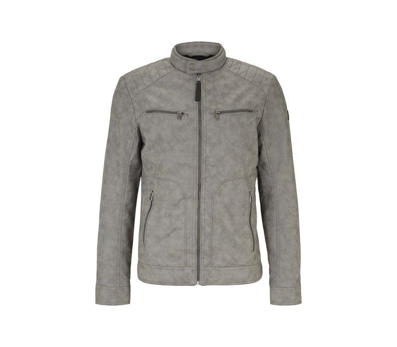 Tom Tailor Denim Fake Biker Jacket Mid Grey