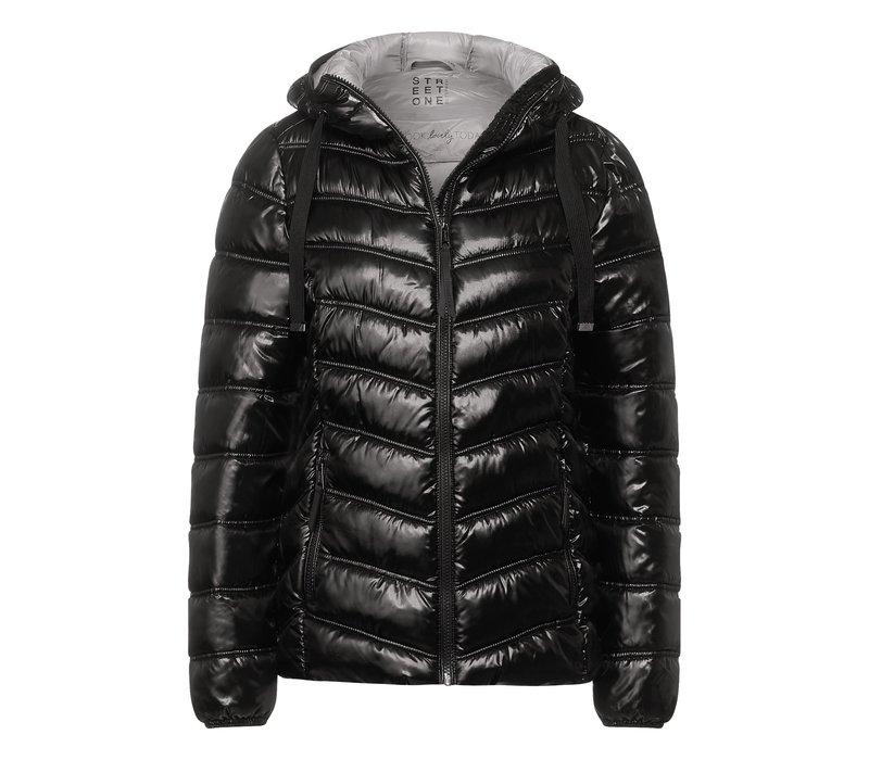 Street One Shiny Padded Jacket With Hood Black