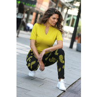 Zoso Sporty Sweat Pant with Print Black Spice Yellow