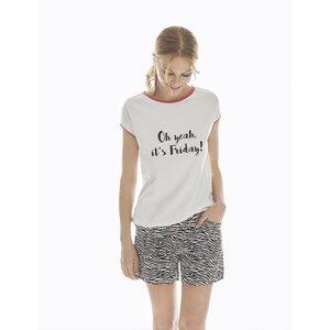 Promise Pijama Party Pyjamabroek met T-Shirt korte mouwen wit