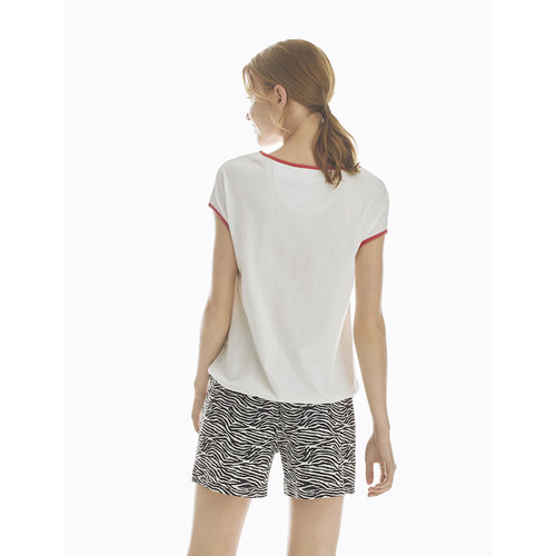 Promise Pyjama Shorts & Short Sleeve Top Cotton N09492-1WHITE