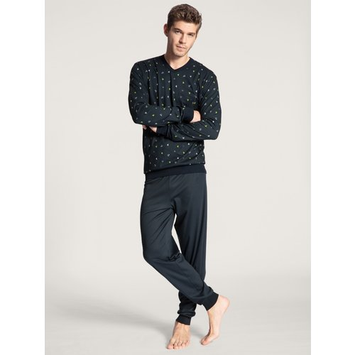Calida Pyjama Relax Imprint blauw