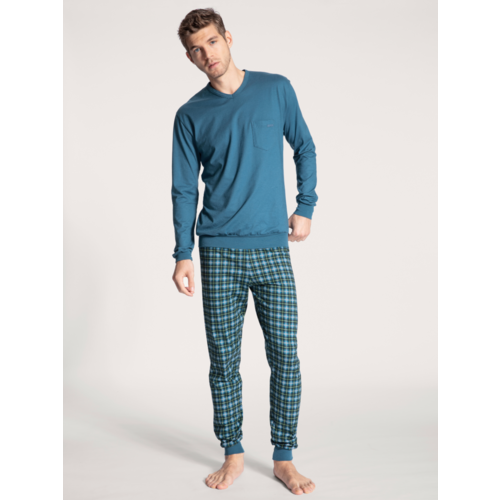 Calida Pyjama Relax Imprint blauw 40763