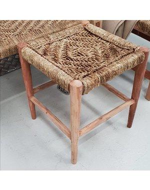 Krukje van hout met geweven touw naturel