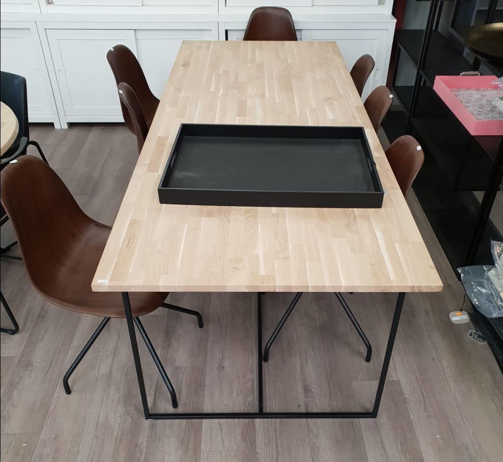 Ongekend Eettafel essen met rank stalen onderstel - Houten Meubel Outlet HR-26